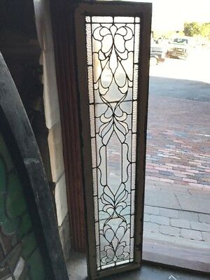 Sg 1569 Antique Leaded Glass Beveled Center Transom Window 14 X 60