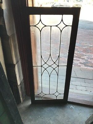 Sg 1570 Antique Leaded Glass Cabinet Door Or Window 20 X 48