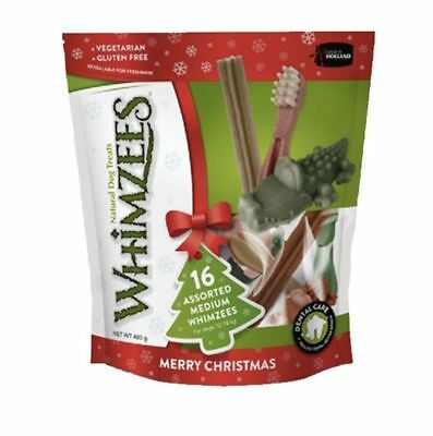 Whimzees Christmas Variety pack Medium treat chew reward natural dental 16pieces