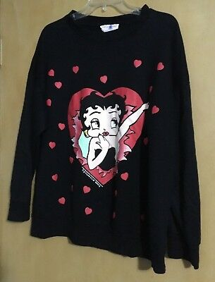 Betty Boop 18/20 Hearts Black Sweatshirt Vintage Cartoon Pullover USA Made