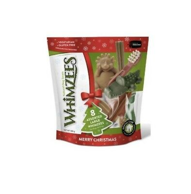 Whimzees Christmas Variety pack Large treat chew reward natural dental 8 pieces
