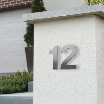 SALE 'FLOATING' 95mm HOUSE NUMBERS BRUSHED STAINLESS - Brick Timber Wall Mount