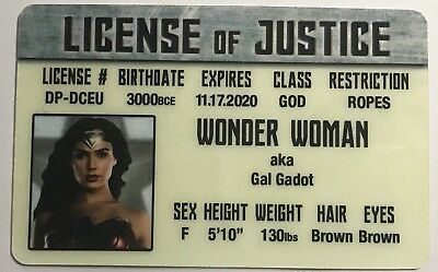 Wonder Woman - Gal Gadot - Drivers License Of Justice - Novelty Funny
