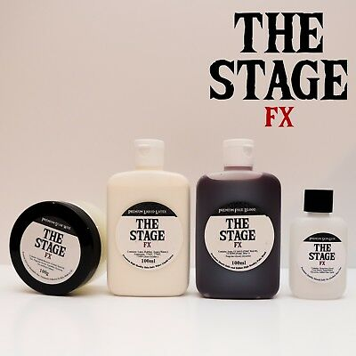 Stage FX 4 Piece SET Scar Wax + Fake Blood + Liquid Latex + Skin Glue Halloween