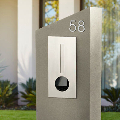 Modern SLIMLINE 75mm House Numbers 304 Brushed STAINLESS STICK ON Numerals