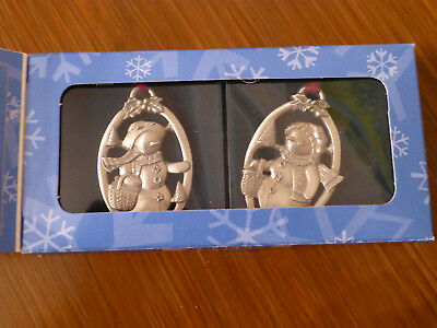 Longaberger Snow Friends Pewter Ornaments Box of Two 1999 - Holidays