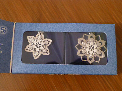 Longaberger Pewter Snowflakes Ornaments set of two 2000 - Christmas / Holidays