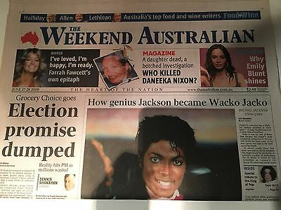 MICHAEL JACKSON The Weekend Australian Vintage Newspaper 27-28 June 2009 DEATH