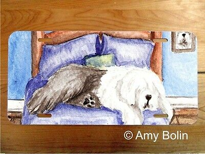 OES Sheepdog aluminum LICENSE PLATE Amy Bolin THE KING ON HIS THRONE