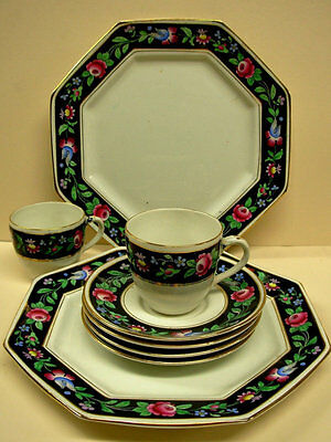 Antique Booths China Granny Pattern (2) Plates, (4) Cups & Saucers, Black Floral