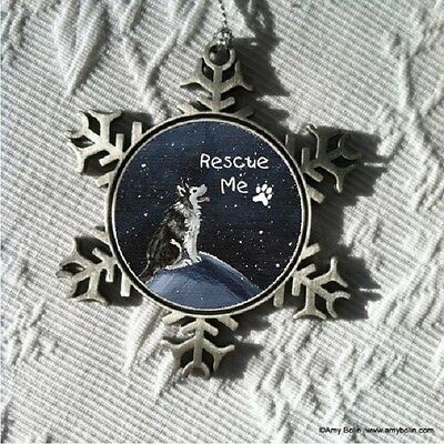RESCUE ME SIBERIAN HUSKY DOG Pewter Snowflake Christmas Ornament by Amy Bolin