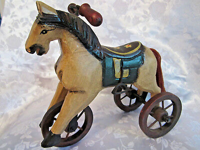 "Folk Art carved wood & metal horse tricycle hand painted 7.5"" tall unique"
