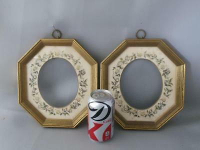 ANTIQUE VTG GOLD LEAF GILT WOOD OVAL w FLORAL MATTED FLOWERS PICTURE FRAME PAIR