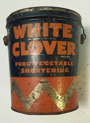 "Rare Canadian (Hamilton) ""white Clover Vegetable Shortening"" 5 Lb.tin - Empty"
