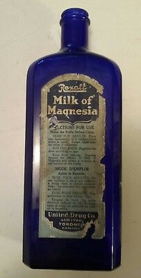 Rexall Drugs Large Size Cobalt Blue Medicine Bottle- Paper Label- 10.5 Inches