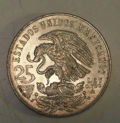 """1968 Mexico 25 Pesos""  Silver (.720) Coin Excellent Condition - Olympic Rings"