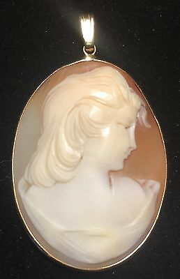 Nice Antique 14K Gold Carved Cameo Pendant Late 19Th Century - 6.3 Grams