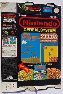 1988 Nintendo Cereal System Cereal Box action poster offer