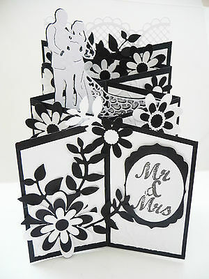 Handmade Cascading Card Wedding, Mr and Mrs Pop Up 3D Black and White Gift Card
