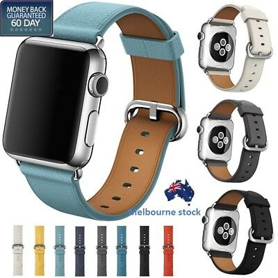 Leather Watch Band Strap Bracelet +Classic Buckle for Apple Watch Series 3/2/1