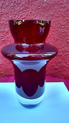 "Marquis By Waterford Crystal Deep Red Vase Glass "" Rumba "" Pattern Signed 10"" ✞"