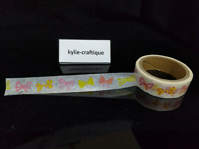 Bow yellow red 1.5cm X 5m Washi Tape DIY Scrapbook Album Diary - a