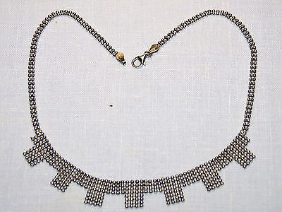 "ITALY .925  Sterling Silver 1mm Bead Unique 12g Necklace (16"")"