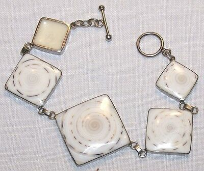 Sterling Silver and Shell Bracelet 7-1/4""