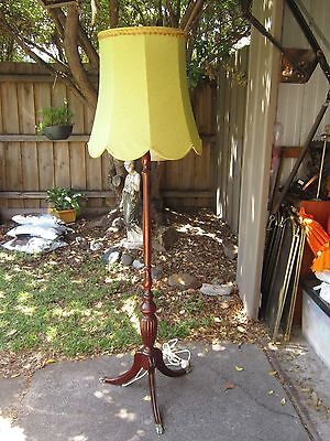 Mid Century Retro Regency Style Standard Timber Floor Lamp With Green Shade