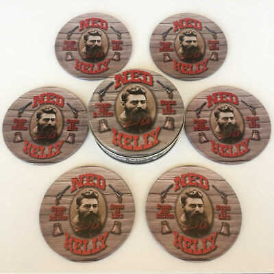 Set of 6 Ned Kelly Tin Drink Coasters with Cork Backings Man Cave Bar Pub Gift