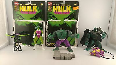 1996 Toy Biz Incredible Hulk Figures Lot Of (3) w/ Backing Boards - Complete