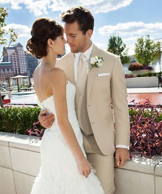 Mens Wedding Suits Formal Evening Prom Party Beige Tuxedos Custom Made Suits