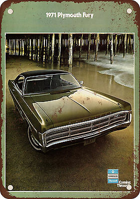 """7"""" x 10"""" Metal Sign - 1971 Plymouth Fury - Vintage Look Reproduction"""