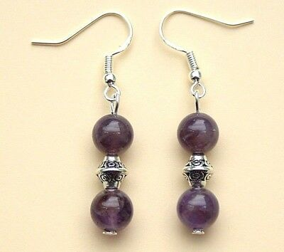Amethyst Drop Earrings with Sterling Silver Hooks New LB186
