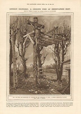 1918  Antique Print Ww1 -Crucifix Used As Observation Post