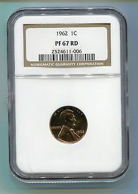 1962 Lincoln Cent Penny - NGC Certified PF 67 RD Cameo Proof Coin - PF 67 RD