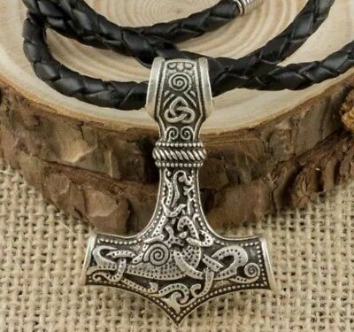Viking Thor's Hammer Silver Mjolnir Pendant With Real Leather Necklace.