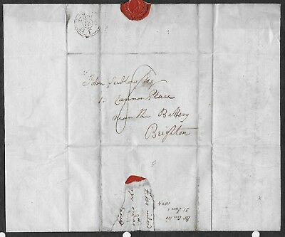 Great Britain 1824 Pre-stamp wrapper Grey's Inn Sq. to Brighton. Contents. Good.