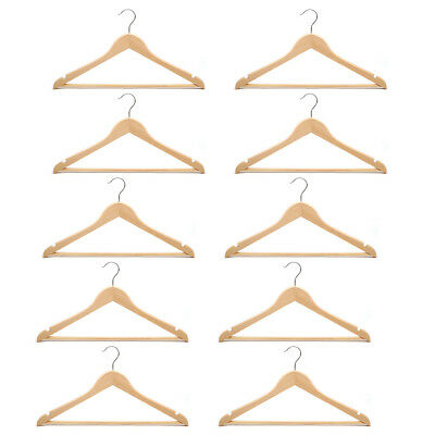 New 10 Pcs Wooden Clothes Hanger Wardrobe Storage Unisex Trouser Top Shirt Gloss