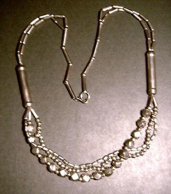 "Fabulous ART DECO Vintage BEAD CHROME CHAIN 30"" INDUSTRIAL MODERNIST NECKLACE"
