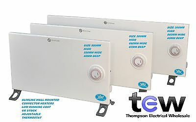 Slimline Electric Convector Heater Wall Mounted Timer Thermostat 600W 800W