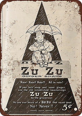 """7"""" x 10"""" Metal Sign - 1910 Zu Zu Ginger Snaps - Vintage Look Reproduction"""