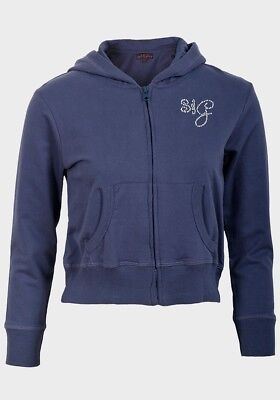 NEW  Soul & Glory Lipsy Girls Navy Hoodied Zip Through Top - Age 7 - 8 Years