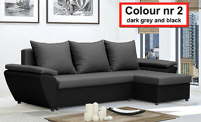 Corner Sofa Bed Jacob NR 2 Dark Grey and Black Waterproof and Washable Fabric