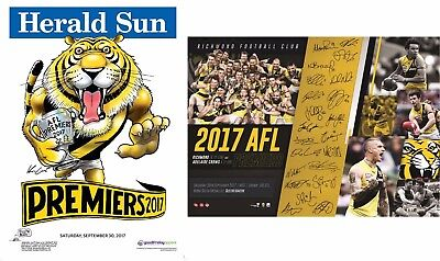 3 X 2017 Afl Richmond Tigers Grand Final Premiers Premiership Poster Print & Weg