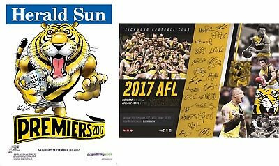 5 X 2017 Afl Richmond Tigers Grand Final Premiers Premiership Poster Print & Weg