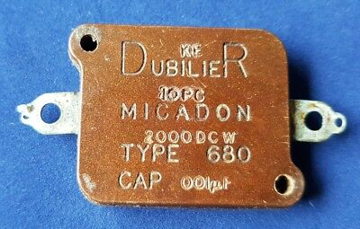 Dubilier Micadon Type 680 2000pF 2KV Silver Mica Vintage Capacitor