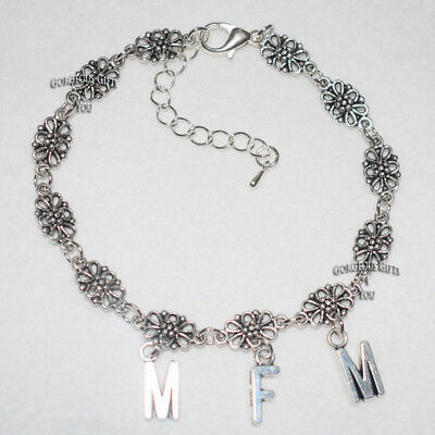 MFM  Letter Filigree Chain Sexy Hotwife Ankle Bracelet Anklet Gift - All Sizes