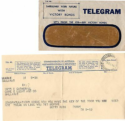 NICE Vintage TELEGRAM Sept 1946 Ballarat Telegraph Office, envelope & telegram