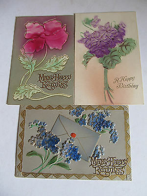 Three Lovely Antique postcards, Flowers embossed, used Birthday Greetings